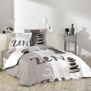 housse de couette zen achat vente housse de couette zen pas cher cdiscount. Black Bedroom Furniture Sets. Home Design Ideas
