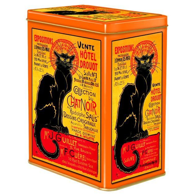 Boite metal deco 12x8x15cm chat noir vente drouot achat vente boite de rangement cdiscount - Boite a the metal vide ...
