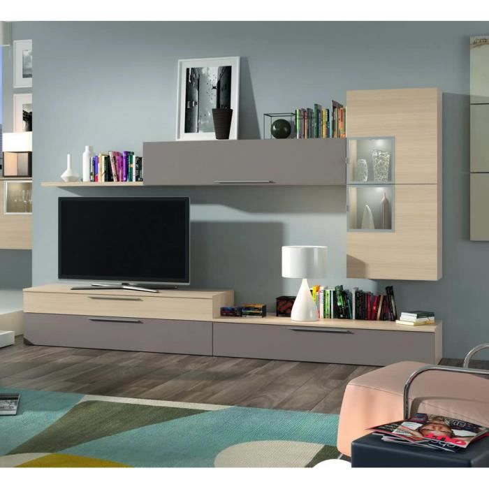 ensemble bibliotheque meuble tv finition chene achat. Black Bedroom Furniture Sets. Home Design Ideas