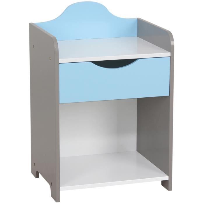 Table de chevet enfant en bois mod le scandinave bleu - Table de chevet enfants ...
