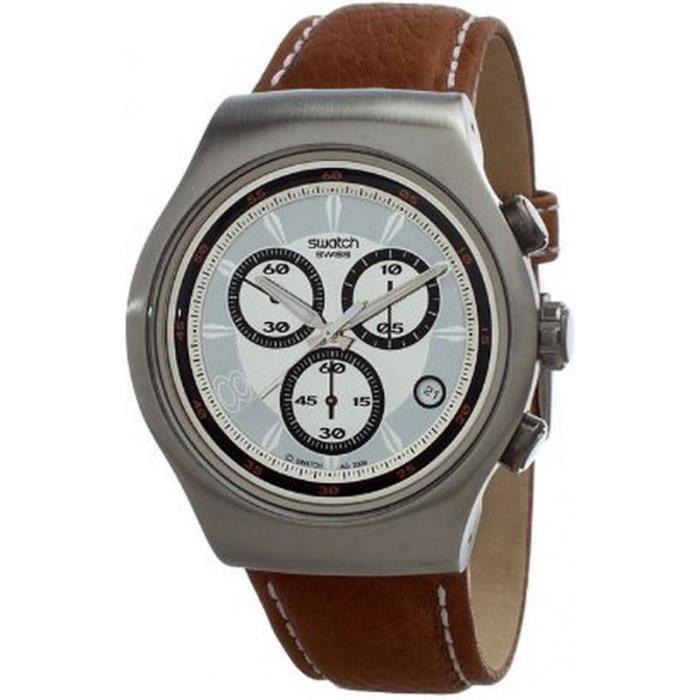swatch yos441 montre homme bracelet cuir de veau achat vente montre cdiscount. Black Bedroom Furniture Sets. Home Design Ideas