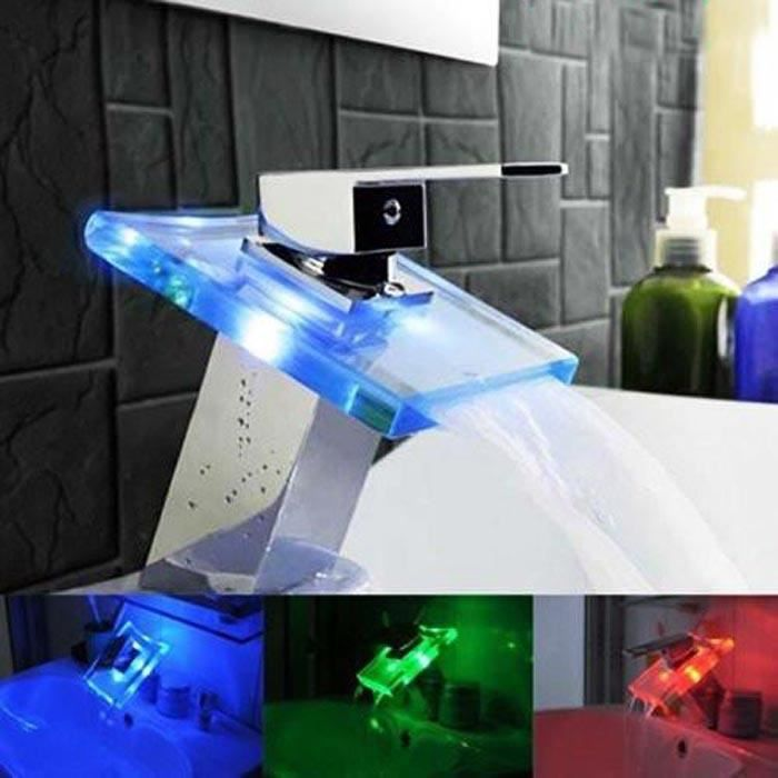 Mitigeur robinet salle de bain led avec 3 couleurs achat vente robinetter - Robinet led salle de bain ...