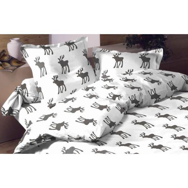Housse de couette 220x240 cm flanelle moose white dv et 2 - Housse couette flanelle 220x240 ...