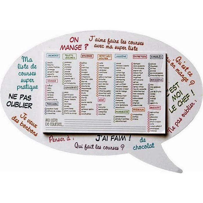Memo aimante liste de course magnetique deco 35 x achat - Liste des ustensiles de cuisine ...