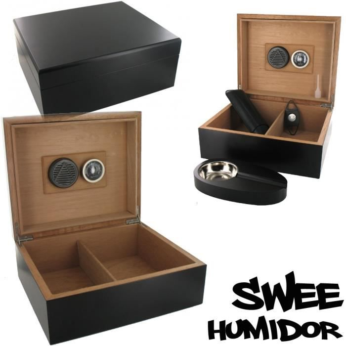 cave cigares swee noire 50 cigares humidificateur hygrom tre achat vente cave. Black Bedroom Furniture Sets. Home Design Ideas