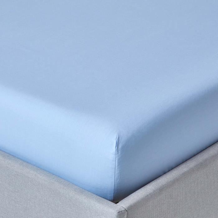 Drap housse bleu 100 coton gyptien 200 fils 180 x 200 cm for Drap housse 180
