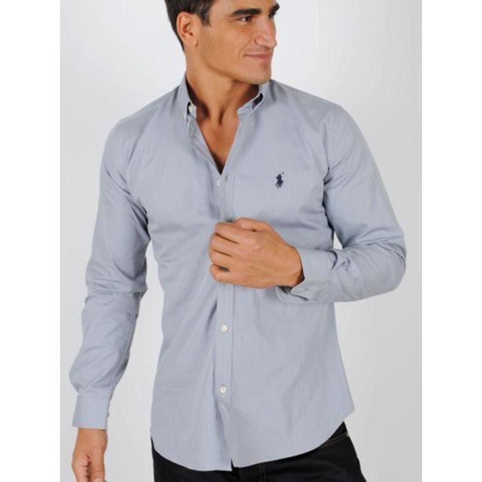 chemise manches longues ralph lauren homme gris achat vente chemise chemisette chemise. Black Bedroom Furniture Sets. Home Design Ideas