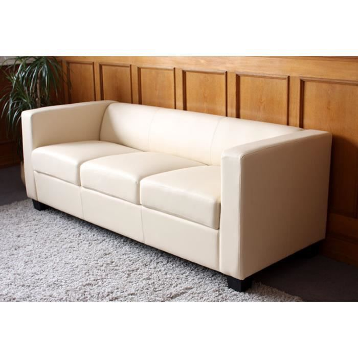canap 3 places en cuir lille cr me avec coussi achat vente canap sofa divan cuir. Black Bedroom Furniture Sets. Home Design Ideas