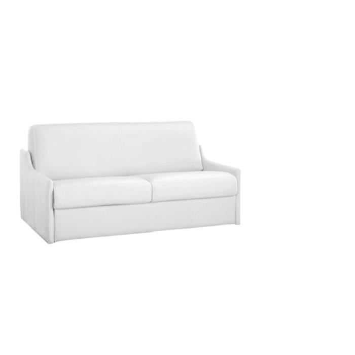 Canape convertible luna vrai cuir blanc 140x190 achat for Canapé convertible vrai couchage