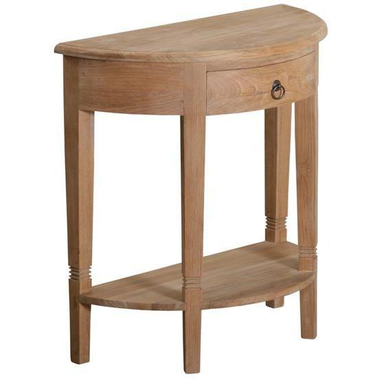 console demi lune en bois teck 75cm tek import achat vente console console demi lune en bois. Black Bedroom Furniture Sets. Home Design Ideas