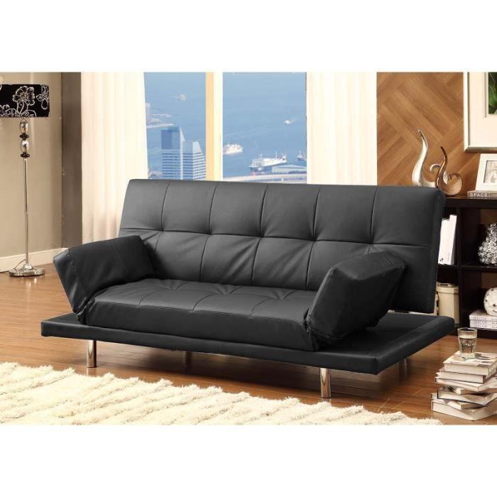 balkis canap 3 places convertible lit noir achat vente canap sofa divan pieds chrom. Black Bedroom Furniture Sets. Home Design Ideas
