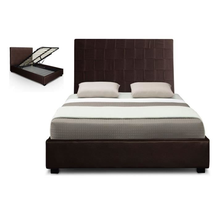 lit coffre pu 160 cm marron hypnos sommier achat vente. Black Bedroom Furniture Sets. Home Design Ideas