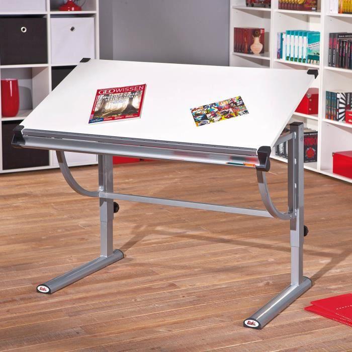bureau enfant modulable orientable rectangulaire ergonomique reglable blanc gris achat vente. Black Bedroom Furniture Sets. Home Design Ideas