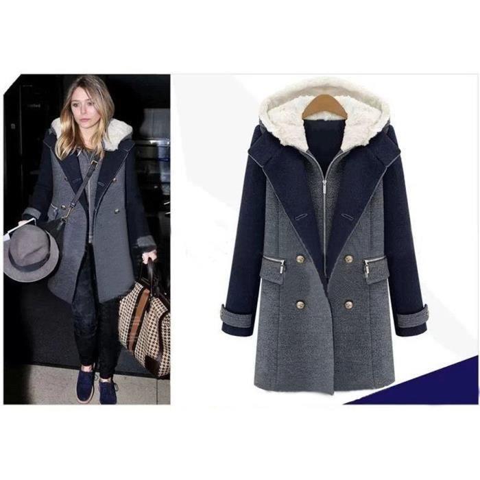 manteau femme hiver lomgue en laine capuche deux pi ces. Black Bedroom Furniture Sets. Home Design Ideas