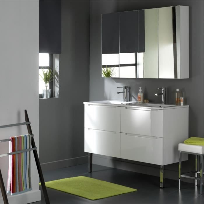 meuble de salle de bain 120 cm 4 tiroirs blanc achat vente meuble vasque plan 622013. Black Bedroom Furniture Sets. Home Design Ideas