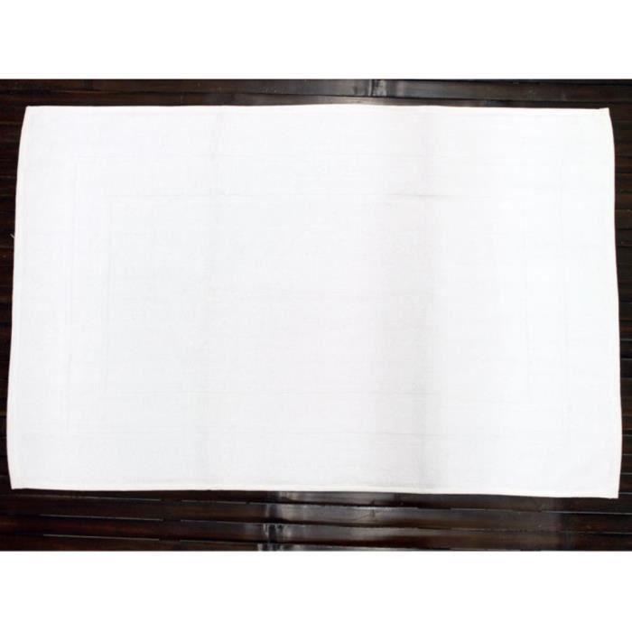 Tapis De Bain Luxe Uni 100 Coton Blanc Achat Vente Tapis De Bain Cdiscount
