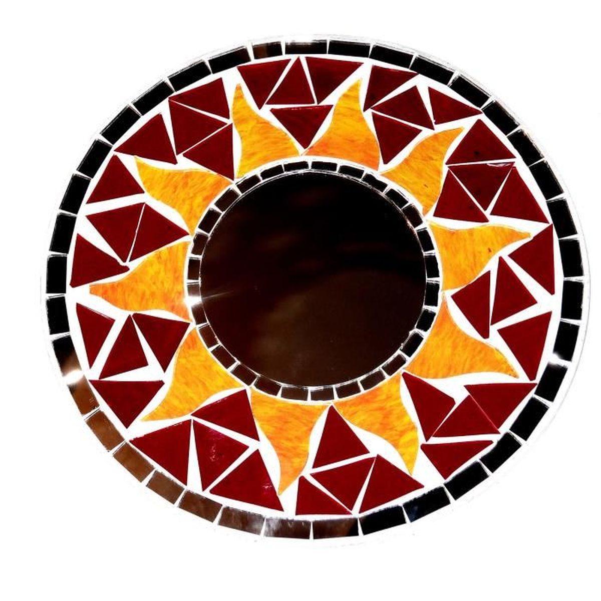 Miroir en mosa que glace bois soleil artisanat mosaic for Glace soleil miroir