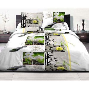 housse de couette 220x240 zen achat vente housse de couette 220x240 zen pas cher cdiscount. Black Bedroom Furniture Sets. Home Design Ideas
