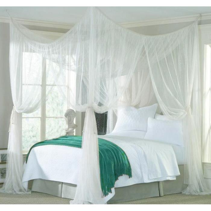 lit d coration filet 4coin lit baldaquin moustiquaire literie filet blanc achat vente. Black Bedroom Furniture Sets. Home Design Ideas