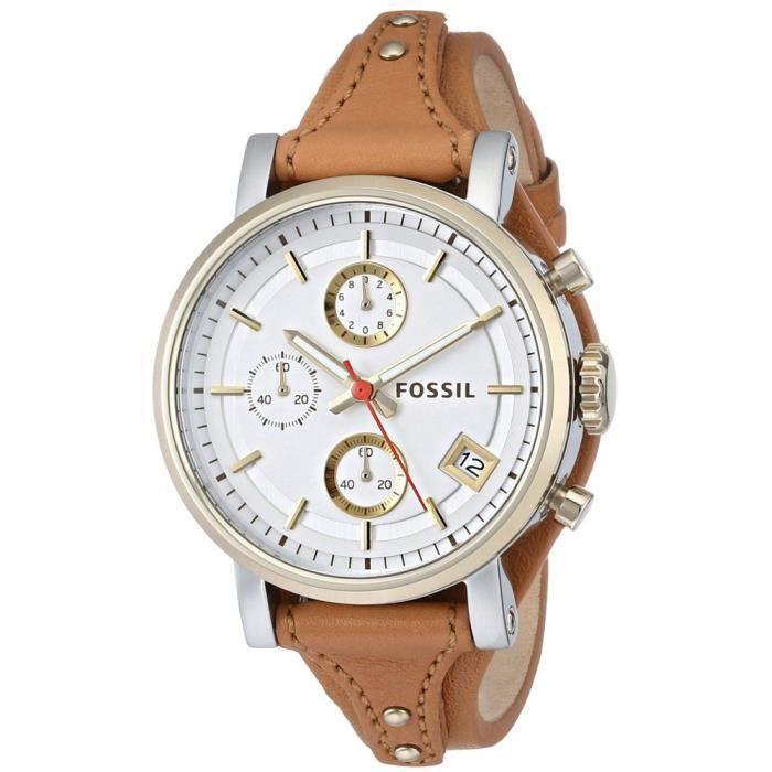 montre fossil es3615 femmes boyfriend origine chronographe montre en cuir brown achat. Black Bedroom Furniture Sets. Home Design Ideas