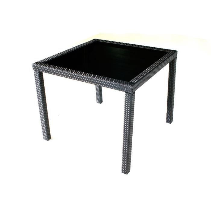 Table de jardin carr e en r sine tress e 80 x 80 cm achat vente table de - Table de jardin en resine en solde ...