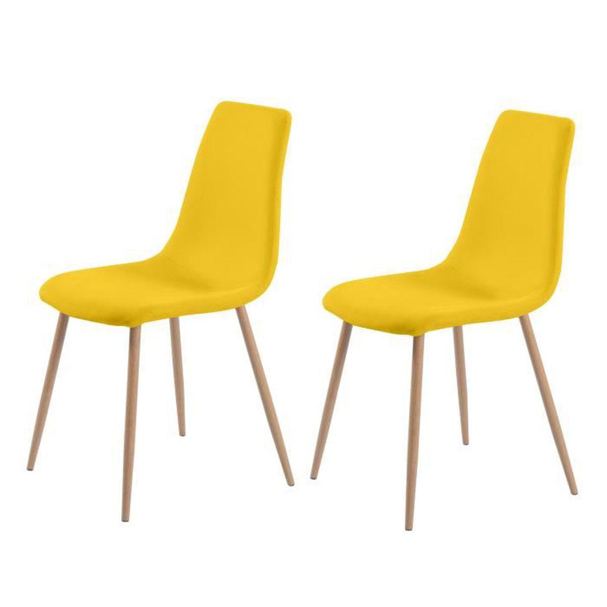 chaise aleksi jaune lot de 2 achat vente chaise cdiscount. Black Bedroom Furniture Sets. Home Design Ideas