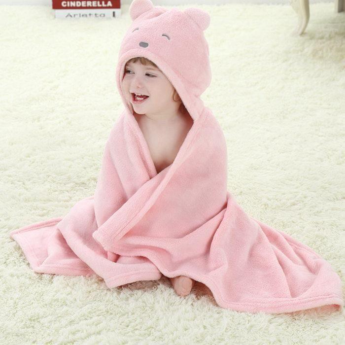 rose ours couverture de b b infantile peignoir capuche drap sortie de bain dessin anim animaux. Black Bedroom Furniture Sets. Home Design Ideas