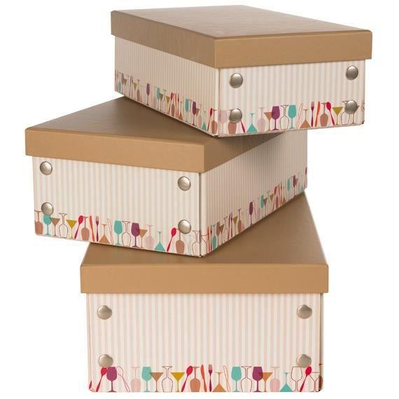 petite boite en carton avec de discr tes rayure achat vente boite de rangement cdiscount. Black Bedroom Furniture Sets. Home Design Ideas