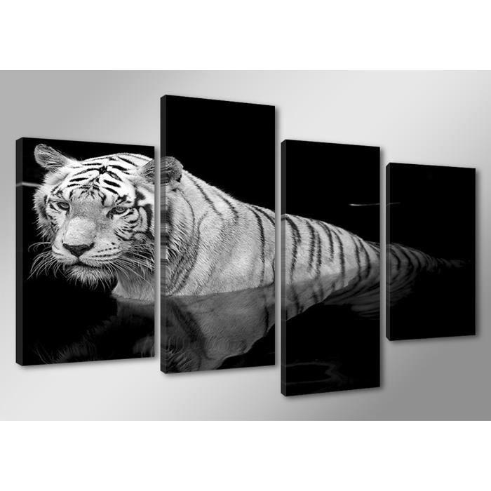 Tableau moderne imprim 130x80 cm tigre blanc achat for Tableau imprime sur verre