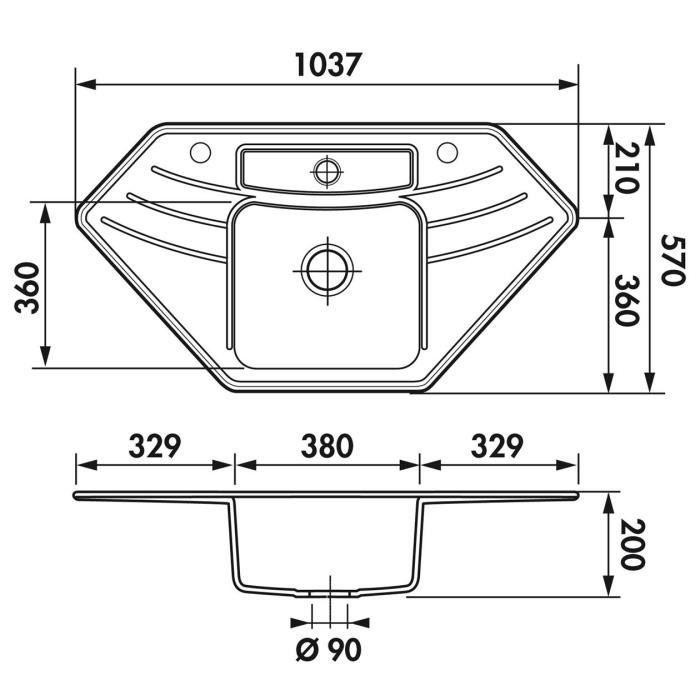 evier d angle c ramique noir dinor 1 grand bac achat vente vier evier d angle c ramique. Black Bedroom Furniture Sets. Home Design Ideas