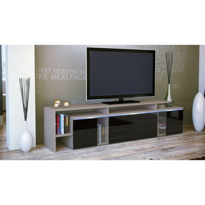 Meuble tv blanc et noir 187 cm achat vente meuble tv for Meuble salon blanc et noir