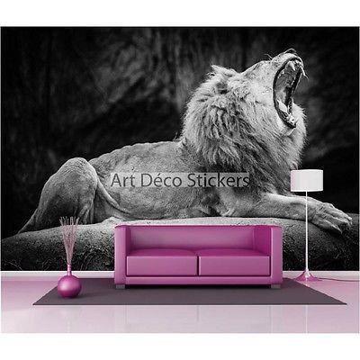 Stickers muraux g ant d co lion noir et blanc 1621 dimensions 265x180cm achat vente - Stickers muraux noir et blanc ...