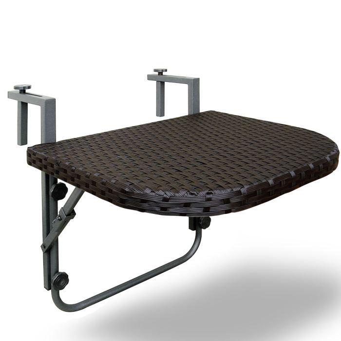 table de balcon 60 x 40 5cm en polyrotin achat vente desserte de jardin table de balcon. Black Bedroom Furniture Sets. Home Design Ideas
