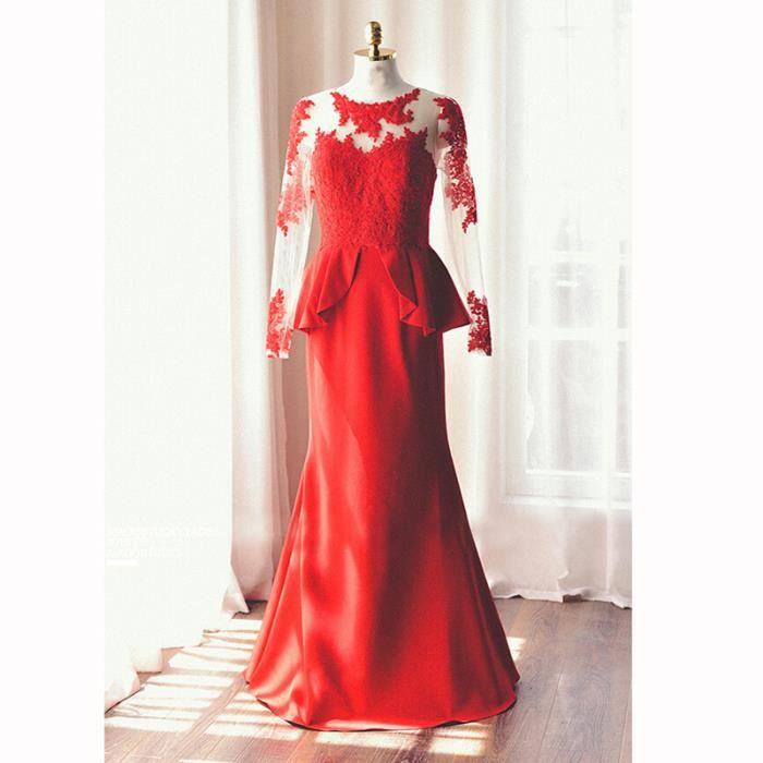 robe à manches longues en dentelle de soirée, robe de mariée, plus ...