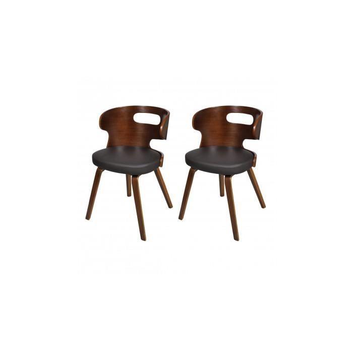 2 chaises de salle manger en cuir m lang brun achat for Chaise de salle a manger en cuir