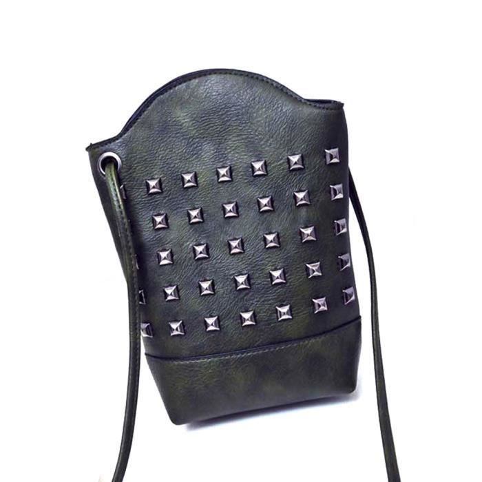 forfait de t l phone 5 7 pouces rivet sac bandouli re en pu mini messenger sac sac d 39 embrayage. Black Bedroom Furniture Sets. Home Design Ideas