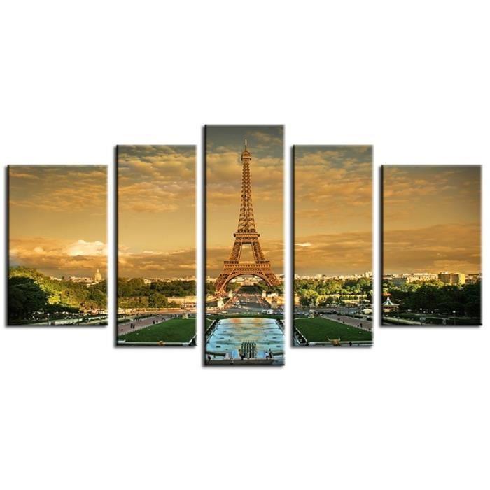 Tableau contemporain tour eiffel 5p achat vente tableau toile cdisc - Achat tableau contemporain ...