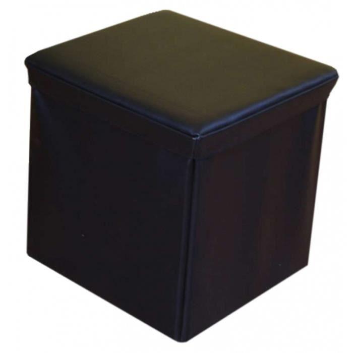 pouf bo te de rangement cube en cuir coloris no achat. Black Bedroom Furniture Sets. Home Design Ideas