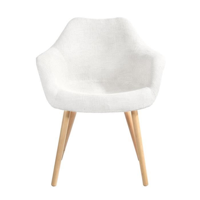 Chaise anssen blanche achat vente chaise blanc cdiscount for Chaise blanche sejour