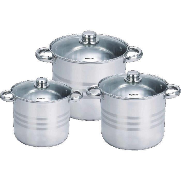 Batterie de cuisine 6 pi ces en inox achat vente for Batterie de cuisine induction inox