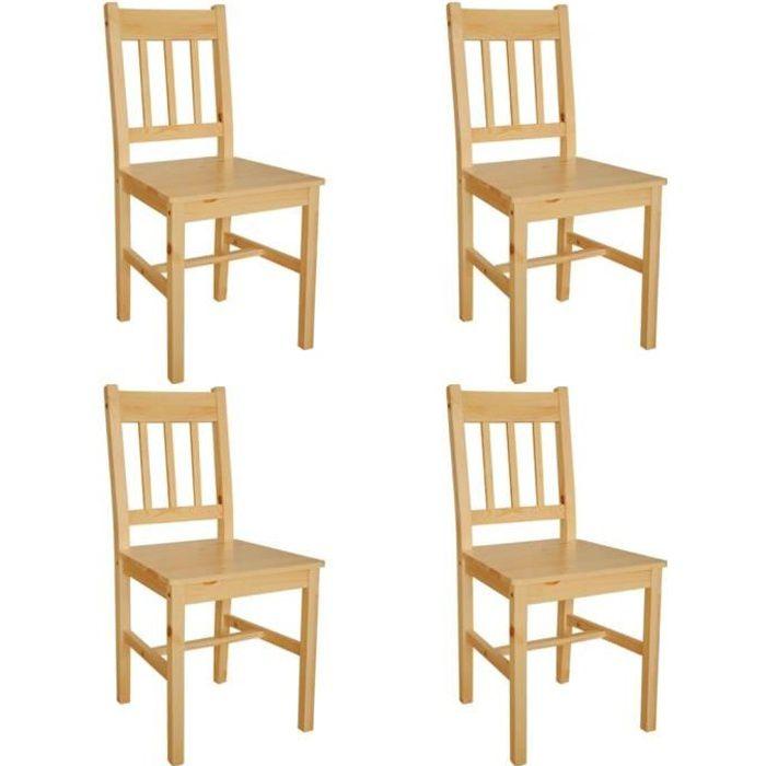 4 pcs chaise salle manger en bois naturel achat for Chaise salle a manger bois