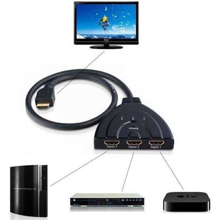 hdmi r partiteur switch commutateur avec cable achat vente repartiteur tv hdmi r partiteur. Black Bedroom Furniture Sets. Home Design Ideas