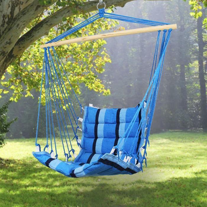 holifine si ge suspendu hamac en coton chaise pour voyage fauteuil 100 50cm avec support en. Black Bedroom Furniture Sets. Home Design Ideas