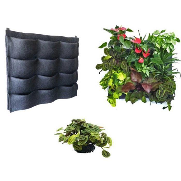 12 poches murale pot de fleurs feutre noir jardin planter vertical mural fleurs sac cultiver sac - Pot de fleur noir ...