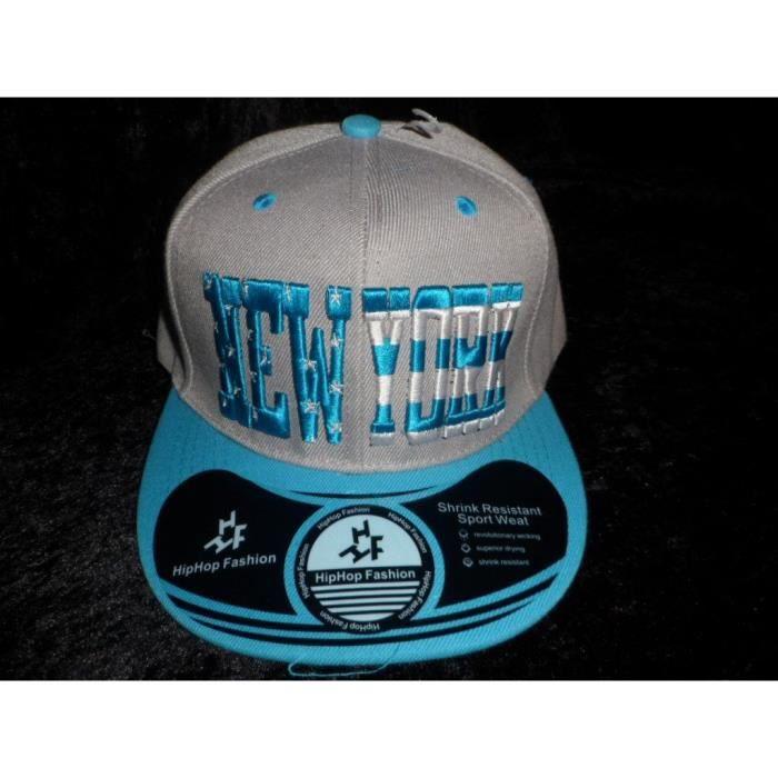 casquette ny new york hip hop fashion grise et bleu turquoise reglable achat vente casquette. Black Bedroom Furniture Sets. Home Design Ideas
