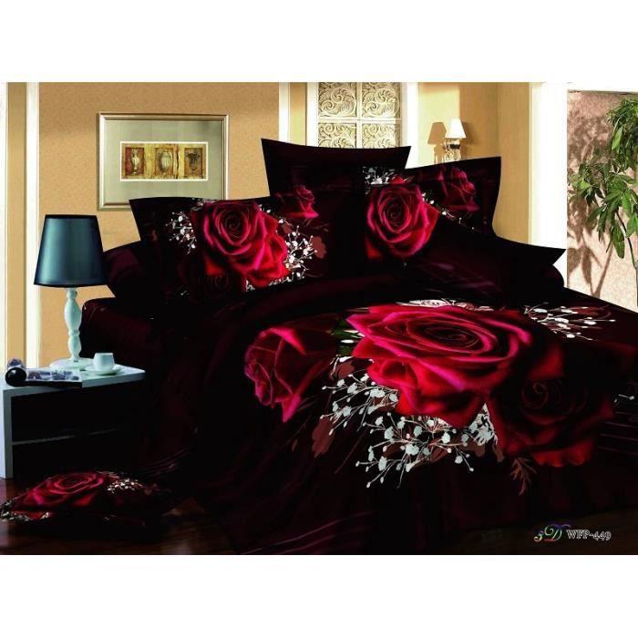 parure 3d 2 pers roses rouges sur fond noir n 2 achat. Black Bedroom Furniture Sets. Home Design Ideas