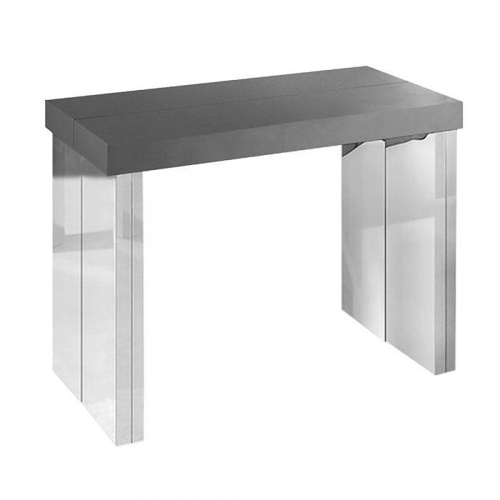console extensible 3 rallonges gris satin achat vente. Black Bedroom Furniture Sets. Home Design Ideas