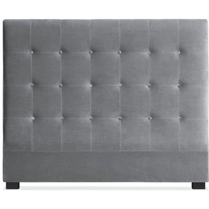 t te de lit luxor 140cm velours argent achat vente. Black Bedroom Furniture Sets. Home Design Ideas