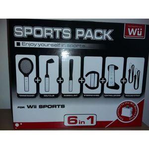 PACK ACCESSOIRE Wii Kit d'accessoires 6 en 1 Sports Pack NOIR