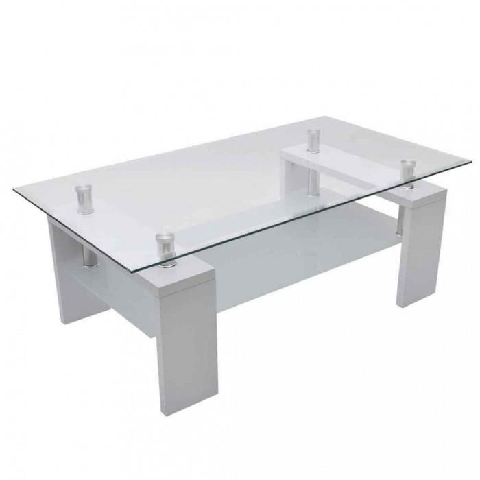 Tables de canape table basse de salon en verre et mdf - Table basse en verre cdiscount ...